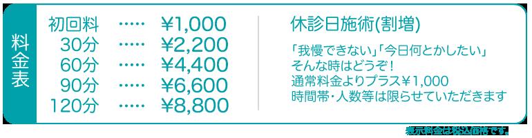 初回料¥1000、30分¥2000、60分¥4000、90分¥6000、120分¥8000